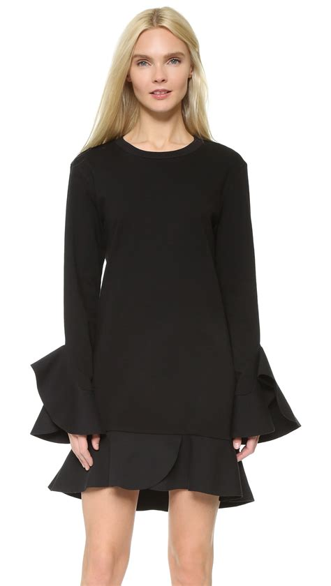 ruffle trim sleeve dress lyst goen j sleeve dress with ruffle trim in black