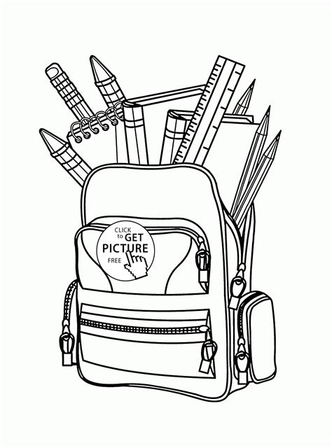 school bag coloring page back to school full school bag coloring page for kids