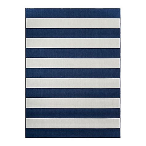 navy and white striped area rug buy miami stripe indoor outdoor 8 foot x 10 foot area rug in navy white from bed bath beyond