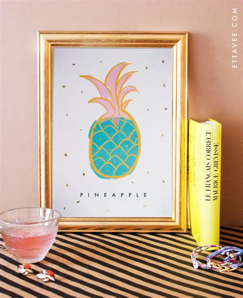 gold leaf home decor pineapple illustrated art print home decor gold leaf poster