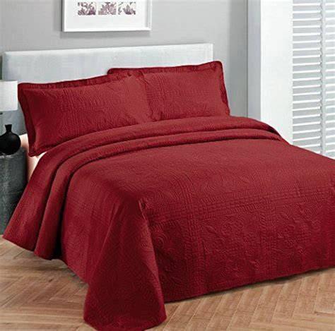 red coverlet fancy collection 3pc luxury bedspread coverlet embossed
