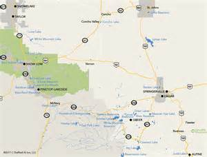 mountains in arizona map lakes and streams of pinetop lakeside and the white