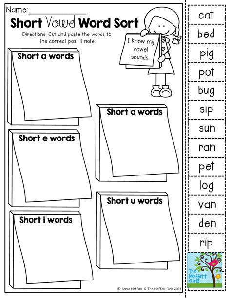 printable vowel games for kindergarten short vowel word sort cut and paste tons of back to