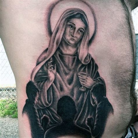 virgin mary tattoo on chest crying virgin mary and prayin children dark religious huge