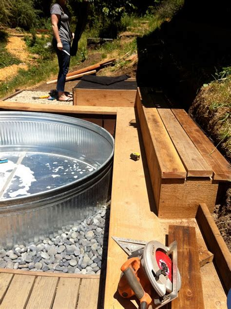 cheap backyard pools make your own stock tank pool homestylediary cheap swimming pools in the galvanized stock tank turned diy pool home design