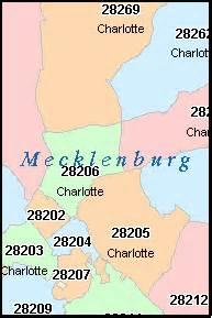 Zip Code Map Of Charlotte Nc by Charlotte North Carolina Nc Zip Code Map Downloads