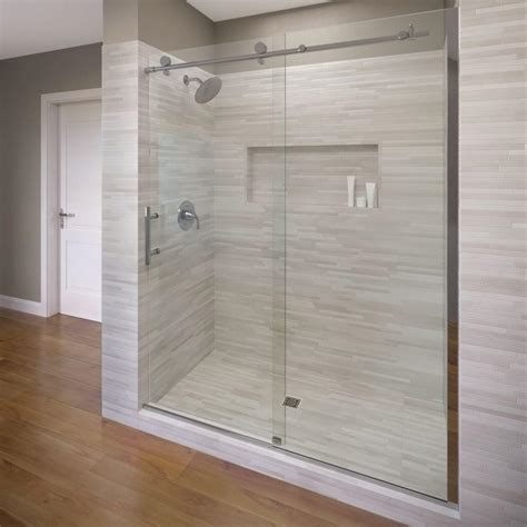 Basco Sliding Shower Doors Basco Vinesse 59 In X 76 In Semi Framed Sliding Shower Door And Fixed Panel In Chrome Vina 935