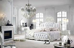 nice Marie Antoinette Decorating Style #3: romantic-bedroom-with-european-style-tufted-bed-fireplace-chandelier-and-white-french-provincial-furniture.jpg