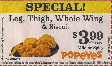 popeyes printable coupon special free printable coupons popeyes chicken coupons