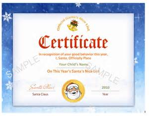 santa certificate template search results for santas list certificate template