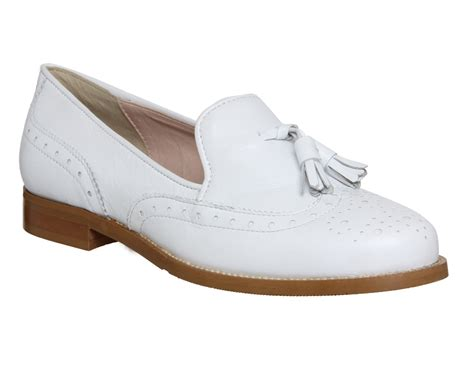 womens white loafers womens office vectra brogue loafer white leather flats ebay