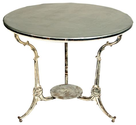 Zinc Side Table Zinc Topped Cast Iron Base Cafe Table Eclectic Side Tables And End Tables New York By