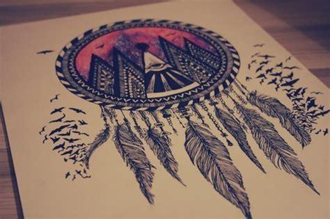 dreamcatcher tattoo hipster drawing art beautiful birds feathers dream catcher ethnic