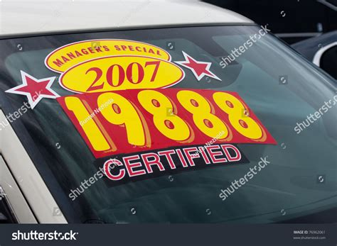 Car With Sticker Price by Windshield Price Sticker On Used Car Stock Photo 76962061