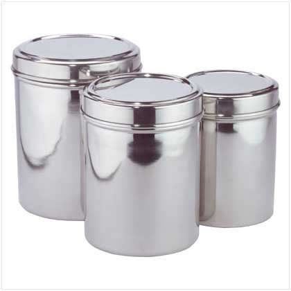 stainless kitchen canisters stainless steel kitchen storage canisters set of three by