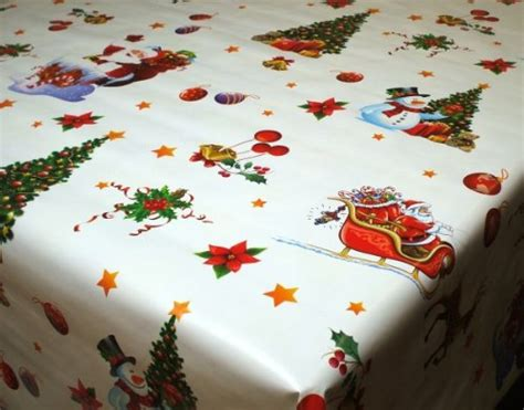 christmas vinyl tablecloth santa sleigh on white 200 x