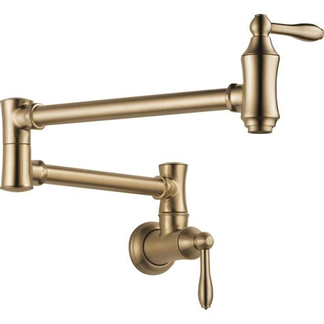wall faucets kitchen shop delta cassidy chagne bronze 2 handle wall mount pot filler kitchen faucet at lowes
