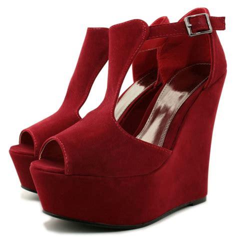 wedge heel shoes wedge heel suede heel platform ankle buckle shoes
