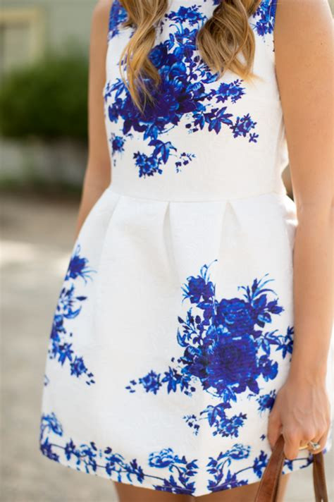 white dress with blue flowers blue and white floral dress