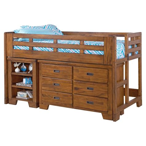 bunk bed with dresser heartland low loft bed with dresser spice brown dcg stores