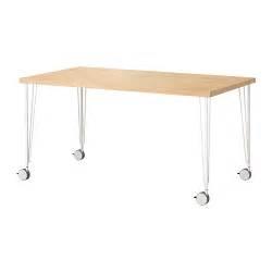 ikea desk on wheels linnmon krille table birch effect white ikea
