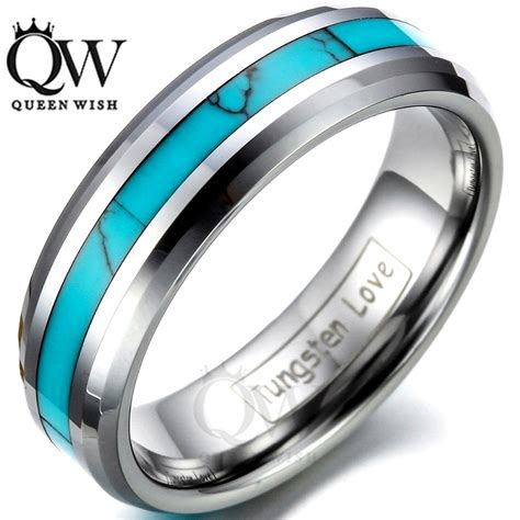 hanlob 6mm tungsten carbide ring turquoise s s