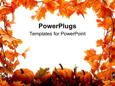 Powerpoint Template Orange Pumpkins And Leaves For Autumn Festival Holidays On A White Fall Powerpoint Template