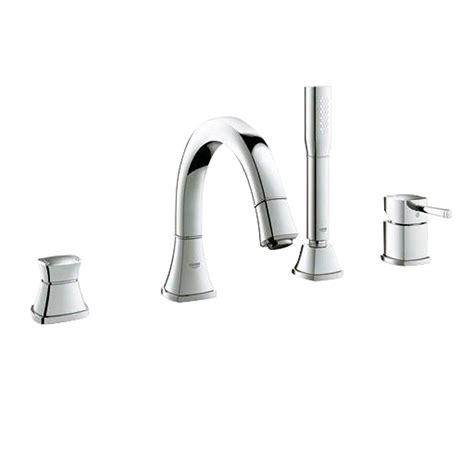 shop grohe grandera brushed nickel infinity 1 handle freestanding bathtub faucet at lowes com grohe grandera single handle deck mount roman tub faucet