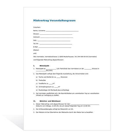 Mahnung Wohnung Vorlage Muster Mietvertrag Veranstaltungsraum