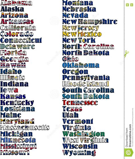 colors in alphabetical order list of 50 states in alphabetical order excel