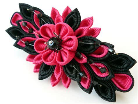imagenes flores kanzashi flor de tela kanzashi franc 233 s pasador fucsia y negro