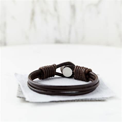 mens personalised brown leather bracelet personalised s silver and leather bracelet sally clay
