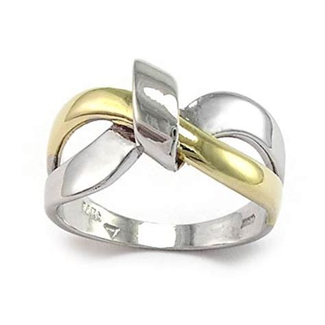 anzor jewelry 14k white and yellow gold ribbon design ring