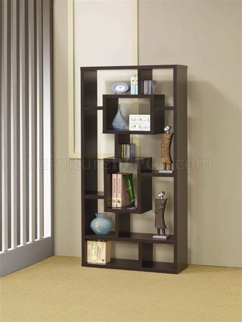 cappuccino finish modern bookcase w shelves display space