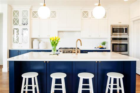 white and navy blue kitchen features white cabinets