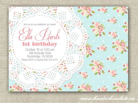 shabby chic invitation vintage pearls lace invitation