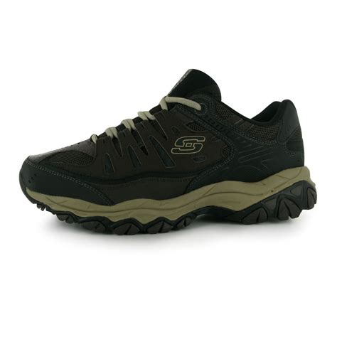 skechers sport shoes mens skechers mens after burn trainers lace up memory foam