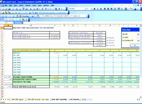 8 npv irr calculator excel template exceltemplates
