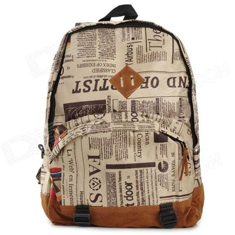 News The Bag Forum by Newspaper Pattern Casual Canvas Pu Backpack Student