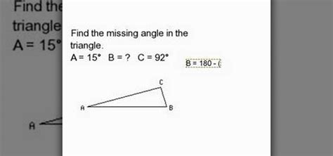 How To Calculate Interior Angles Of A Triangle by How To Find A Missing Angle Inside Of A Triangle 171 Math