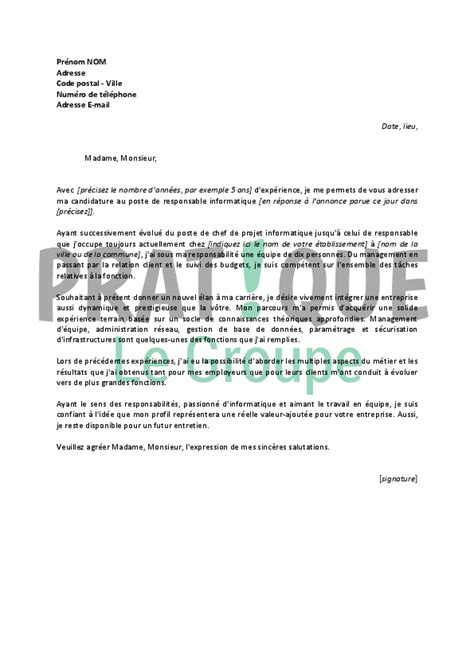 Lettre De Motivation De Responsable Lettre De Motivation Pour Un Emploi De Responsable Informatique Confirm 233 Pratique Fr