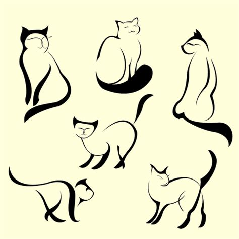 cat outline tattoo cat designs