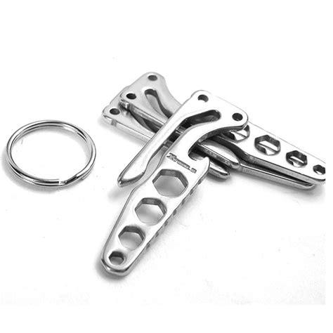 Edc Necklace Multifunction Tools pocket edc mini multi tool key holder opener allen wrench stainless steel keychain bottle opener