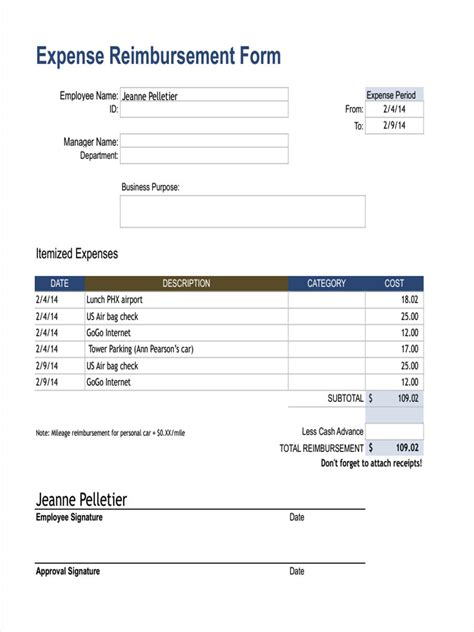18 Expense Reimbursement Forms In Pdf Reimbursement Form Template