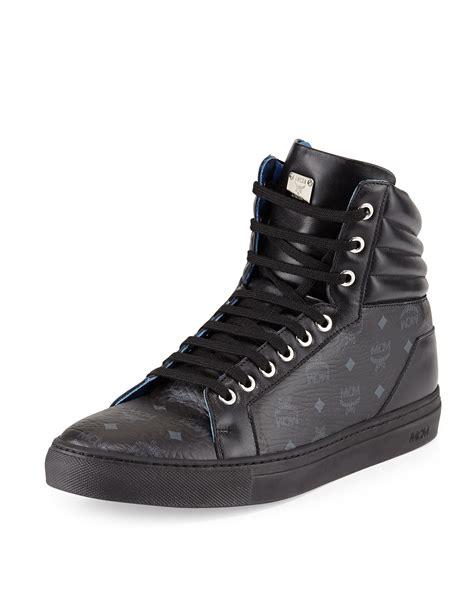 mcm sneakers mens lyst mcm monogrammed high top sneakers in black for