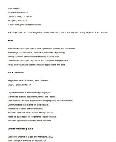 registered resumes sles sle sales assistant resume 8 exles in word pdf
