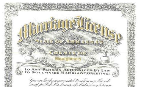 Arkansas Marriage License Records Montgomery County Marriages
