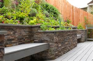 retaining wall and bench contemporary deck other