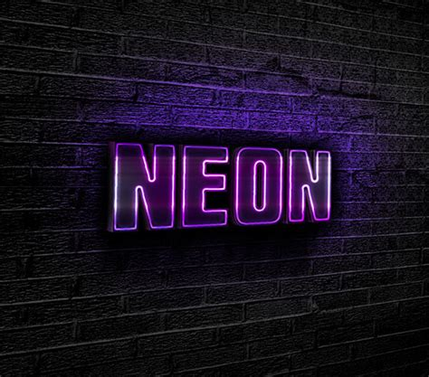 testo neon lights purple neon text effect