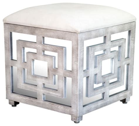 Mirrored Ottoman Reena Mirrored Ottoman Contemporary Footstools And Ottomans By Statements By J